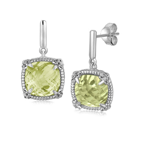 Sterling Silver Green Amethyst and White Sapphires Fleur De Lis Drop Earrings
