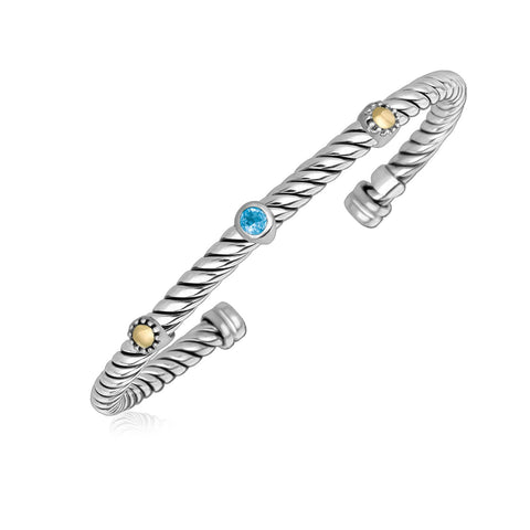 18K Yellow Gold and Sterling Silver Cuff Bangle with Blue Topaz Embellishments