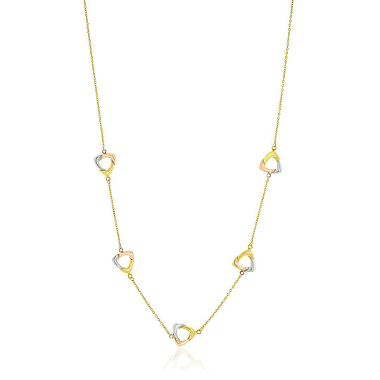 14K Tri-Color Gold Multi Colored Triangle Shape Station Chain Necklace