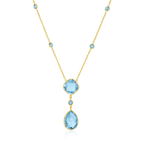 14K Yellow Gold Necklace with Pear-Shaped and Cushion Blue Topaz Briolettes