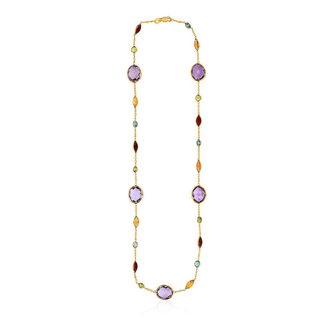 14K Yellow Gold Necklace with Multi-Colored Stones