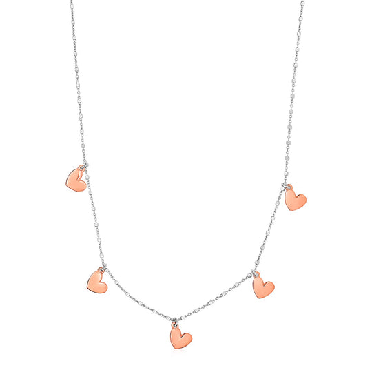 Necklace with Rose Finish Hearts in Sterling Silver
