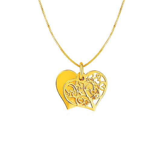 Two Layer Heart Shaped Tree Pendant in 14K Yellow Gold