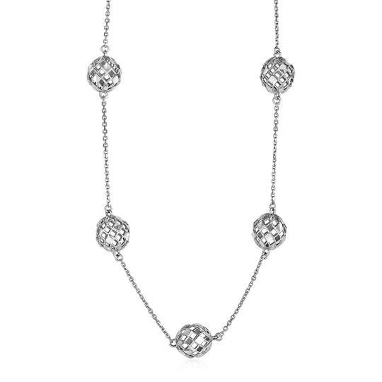 Necklace with Geometric Pierced Beads in 10K White Gold