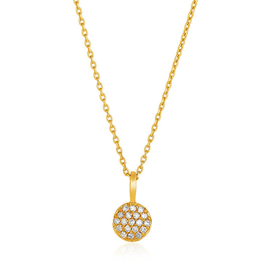 14K Yellow Gold 16 inch Necklace with Gold and Diamond Circle Pendant (1/10 ct. tw.)