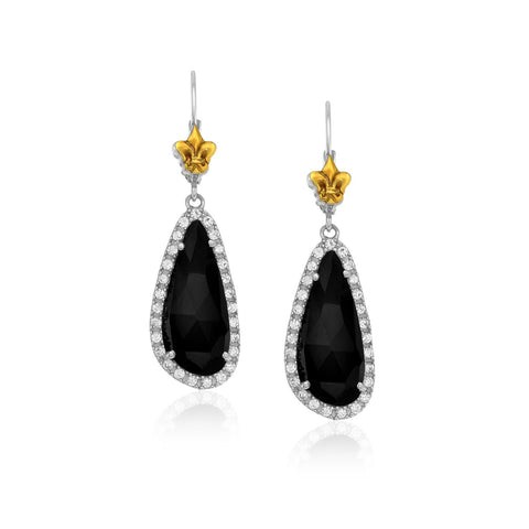 18K Yellow Gold & Sterling  Silver White Sapphire and Black Onyx Earrings