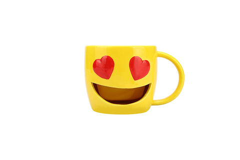 Kaomoji Big Mouth Heart Eyes Ceramic Mug
