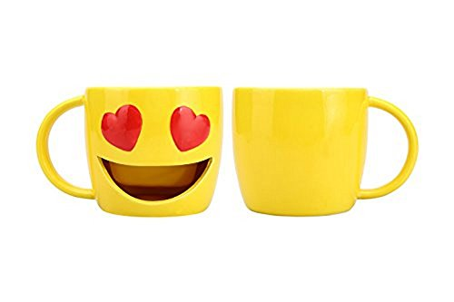 Kaomoji Big Mouth Ceramic Mug Heart Eyes