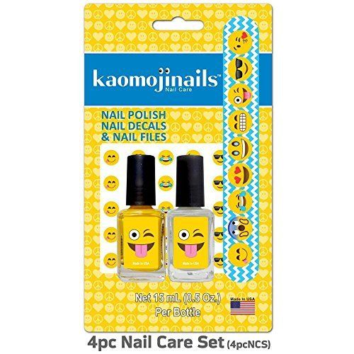 Kaomojinails Assorted 4 Pack - 2 Nail Polishes - Nail Decals & Nail File