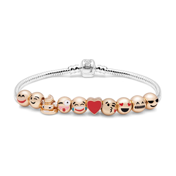 Emojem Bracelet with 10 of The Most Popular Emoticon Charms-Silver & Gold Plated