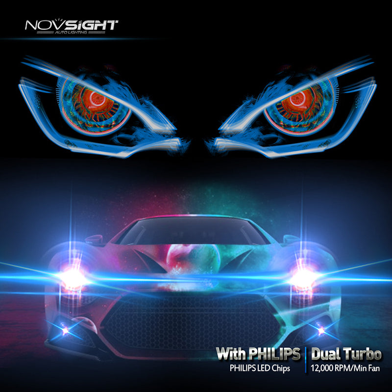 ... NOVSIGHT Pair 10000LM H7 LED Headlight Fog Light Bulbs White   2 Year  Warranty ...