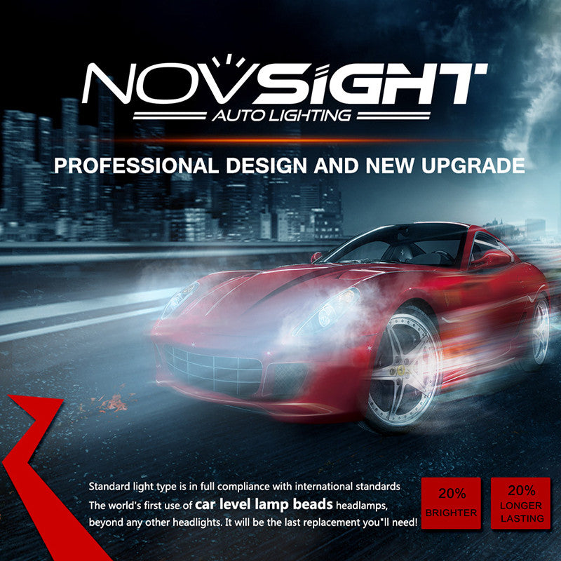 NOVSIGHT A363 H7 LED Headlight Kit Fog Light Bulbs White 6000K 80W 13600LM/Set