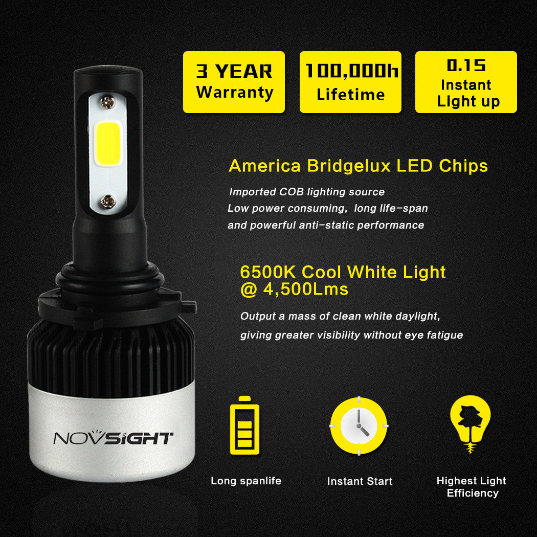 NOVSIGHT A315 9000LM 72W 9006 HB4 LED Car Headlight