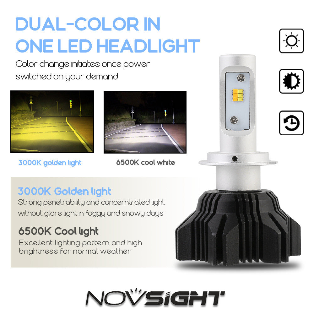 NOVSIGHT H7 LED Headlight Light Bulbs Dual Color White & Yellow 40W 8000LM/Set