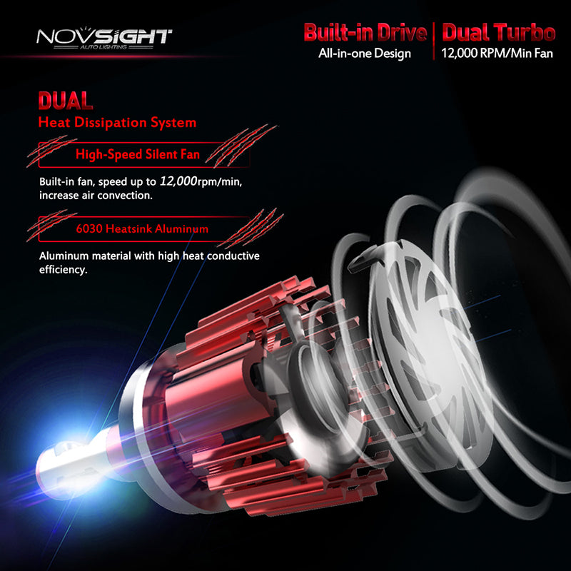 NOVSIGHT 60W 10000LM H11/H8/H9 LED Headlight Light Bulbs Set Driving Lamp 6000K