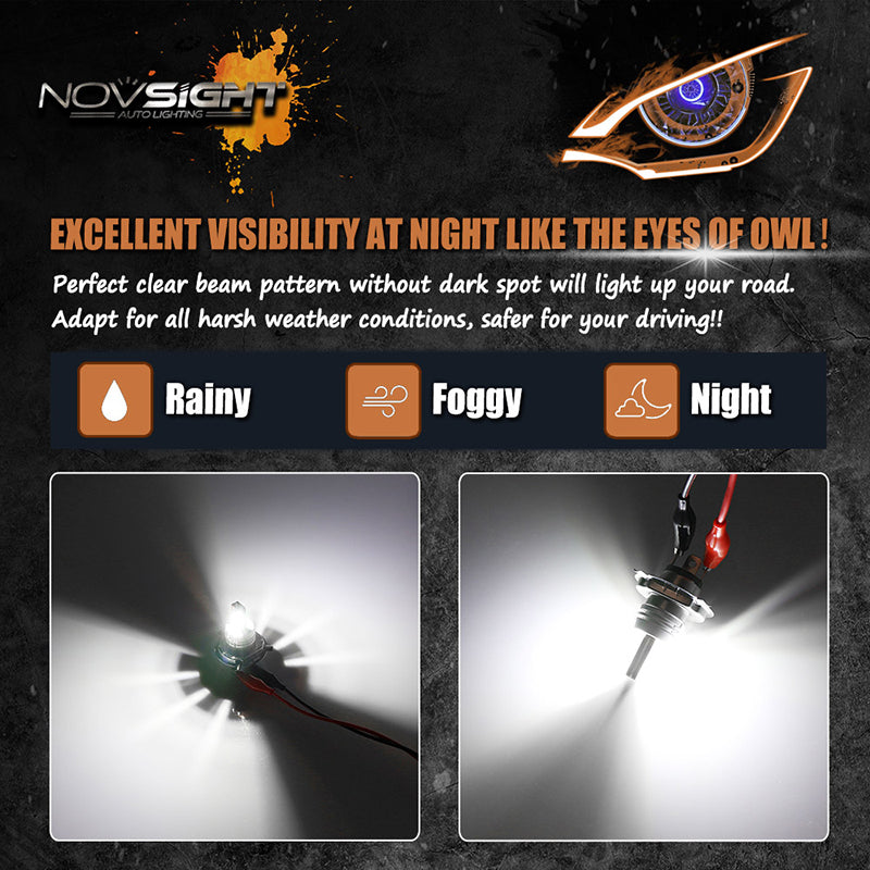 NOVSIGHT H4 9003 HB2 LED Fog Light Bulbs Lamp Replace Halogen White 60W 1800LM