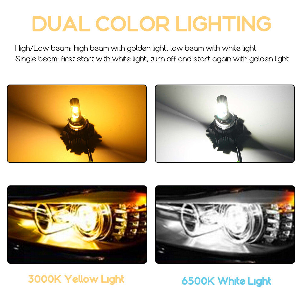 NOVSIGHT 9005/HB3 LED Headlight Light Bulbs Dual Color White & Yellow 40W 8000LM