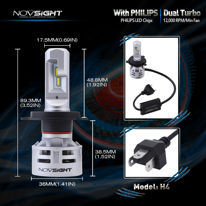 NOVSIGHT Pair 10000LM H4 HB2 9003 LED Headlight Fog Light Bulbs -2 Year Warranty
