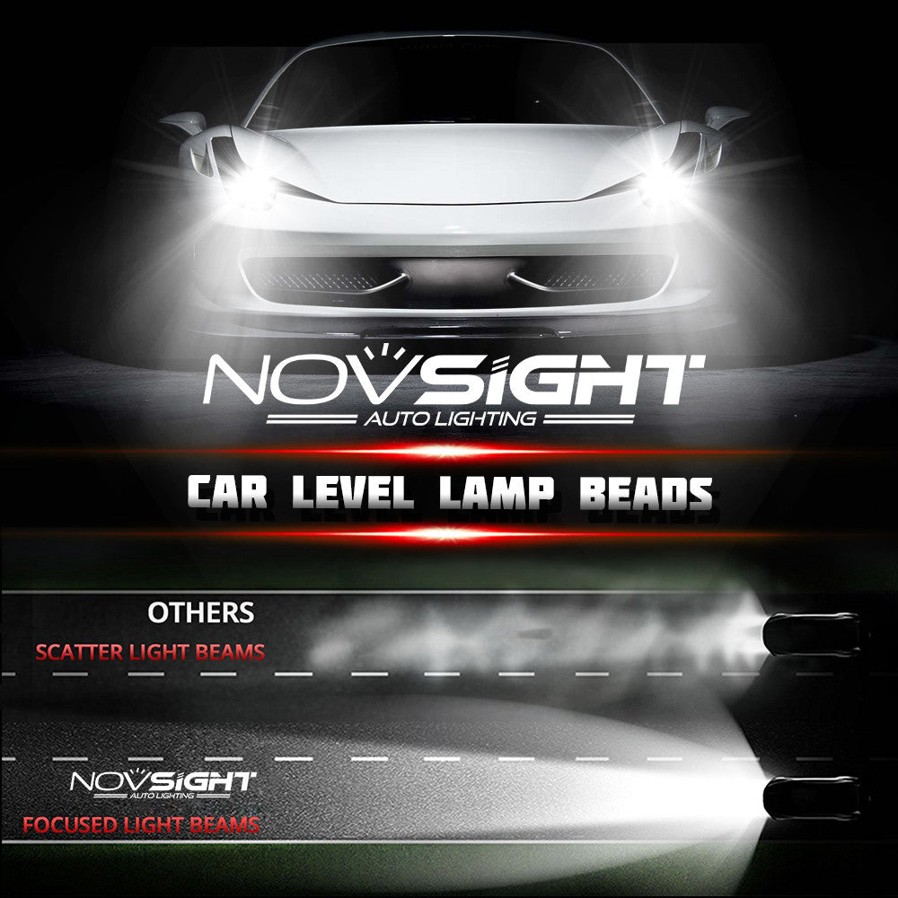 NOVSIGHT A363 9007  LED Headlight Kit Fog Light Bulbs White 6000K 80W 13600LM/Set