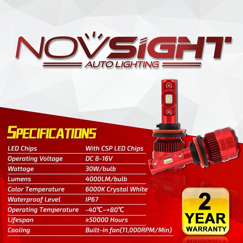 NOVSIGHT H11 H8 H9 LED Headlight Kit Fog Light Bulbs 6000K White 60W 8000LM/Set