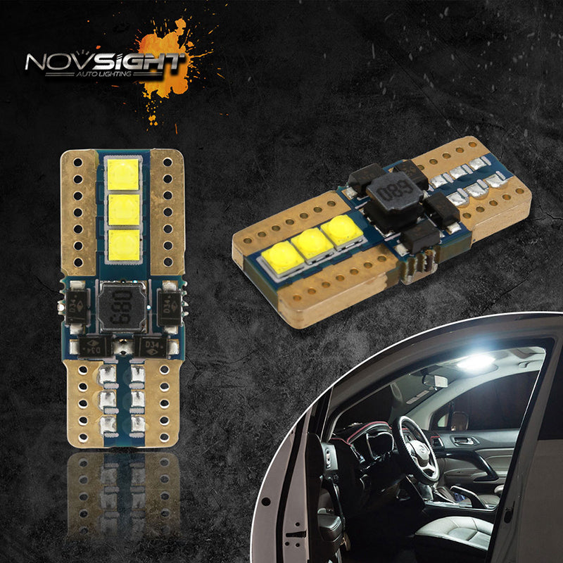 NOVSIGHT 2X T10 LED Car Side Wedge Light Lamp Bulbs Super White Error Free 12V