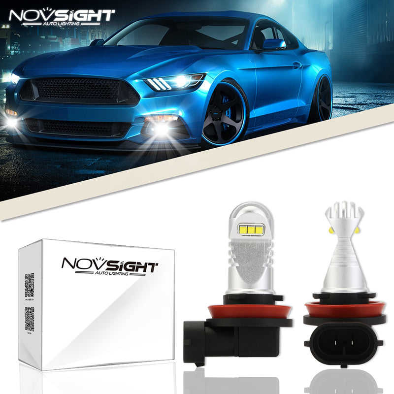 NOVSIGHT 2X 60W 1500LM H16 JP LED Fog Light Bulbs Car Lamp Replace Halogen White