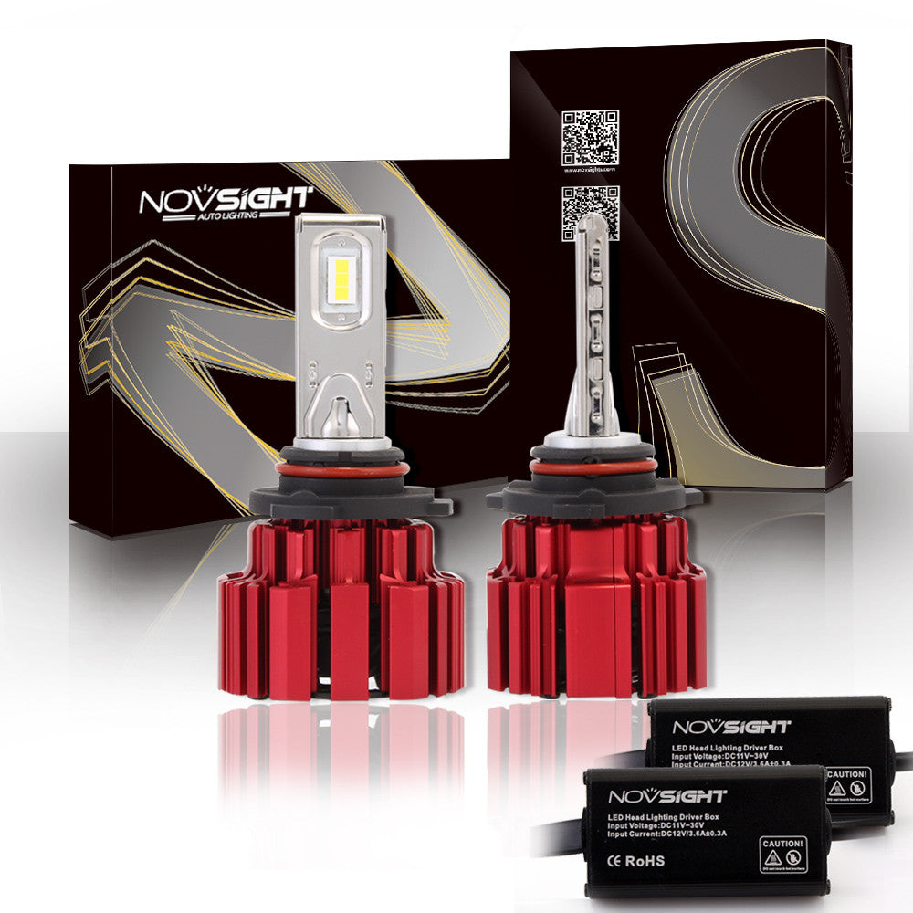 NOVSIGHT A363 Red 80W 13600LM 9005 HB3 LED Headlight Light Bulb Driving Lamp Set 6000K