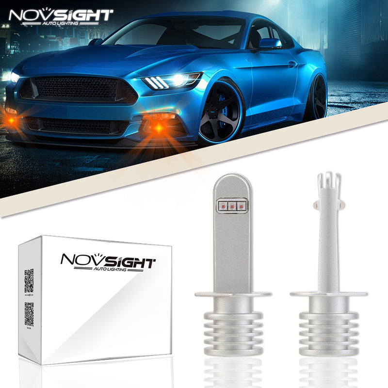 NOVSIGHT 60W 700LM H1 LED Fog Light Bulbs Driving Lamp Replace Halogen Amber
