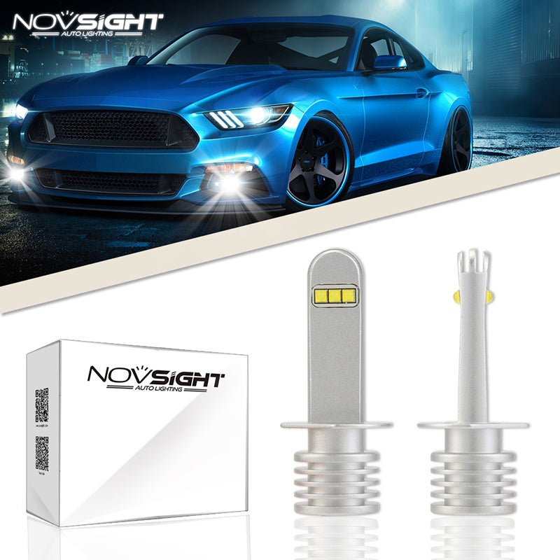 NOVSIGHT 2X 60W 1500LM H1 LED Fog Light Bulbs Car Lamp DRL Replace Halogen White