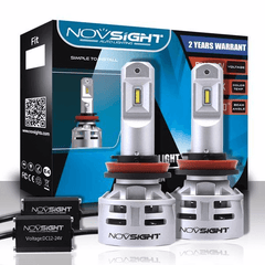 NOVSIGHT Pair 10000LM H11 H8 H9 LED Headlight Fog Light Bulbs - 2 Year Warranty