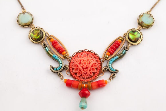 Coral Lace Necklace
