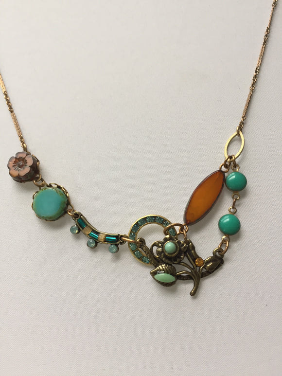 Amber Turquoise Blossom Necklace