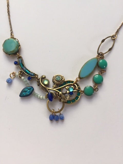 Hydrangea Necklace in Blues