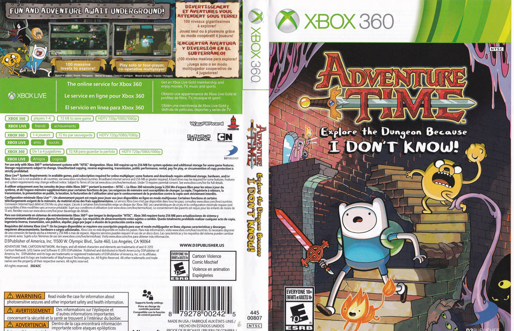 Adventure Time Explore the Dungeon Because I DON'T KNOW Xbox 360
