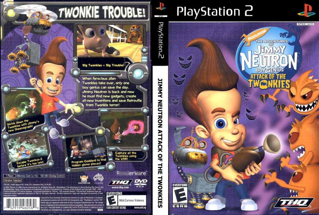 Adventures of Jimmy Neutron Boy Genius Attack of the Twonkies N PS2