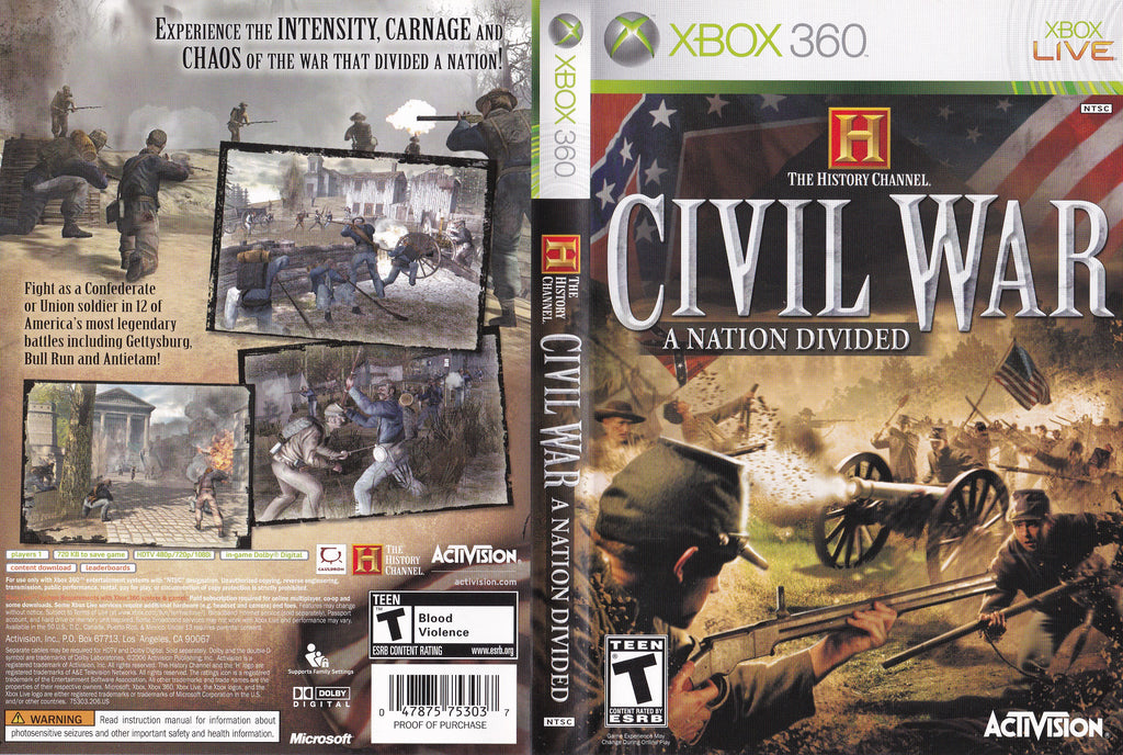Civil War A Nation Divided XBox 360