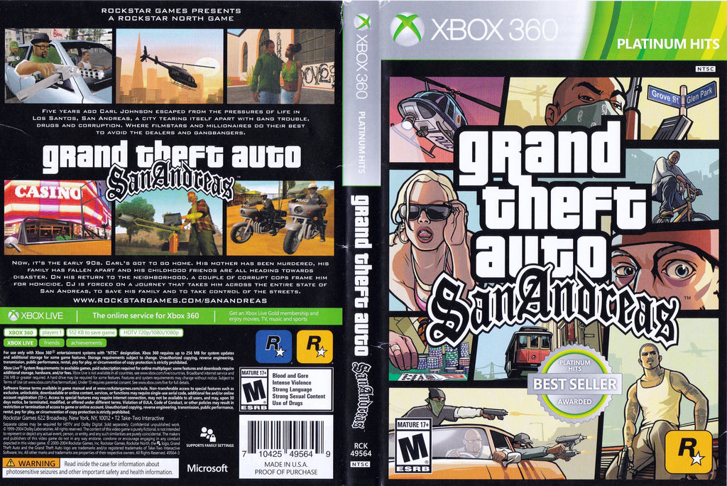 Grand Theft Auto San Andreas Xbox 360