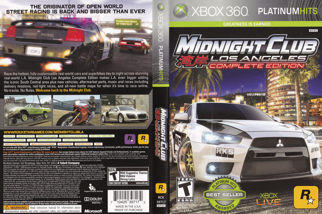 Midnight Club Los Angeles Complete Edition XBox 360