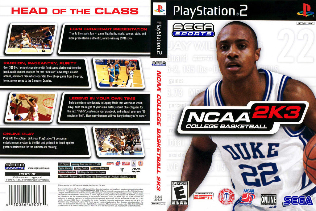 NCAA College Basketball 2K3 C PS2