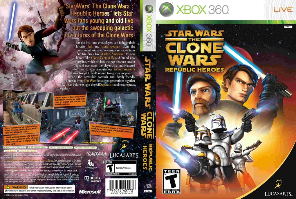 Star Wars The Clone Wars Republic Hereos XBox 360
