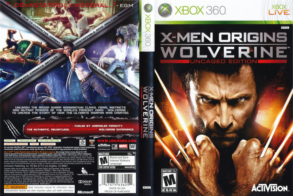 X-Men Origins Wolverine Uncaged Edition Xbox 360