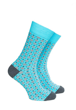 Light Turquoise Blue and Grey Pattern Socks - Barons Sock Club