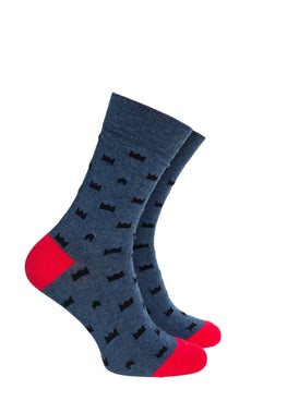 Grey King Crown Pattern Socks with Red Heel and Toe