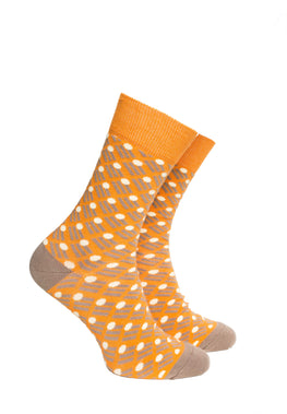 Orange and Light Brown Pattern Socks - Barons Sock Club