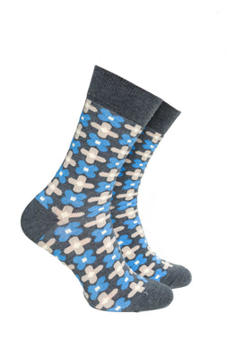 Grey and Blue Pattern Socks - Barons Sock Club