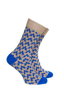 Vintage Light Brown with Blue Pattern Socks - Barons Sock Club