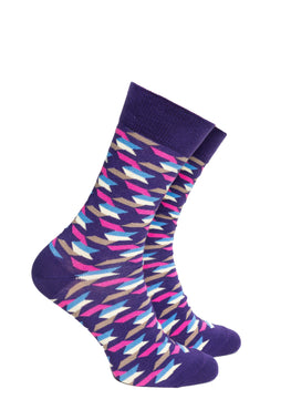 Purple and Pink Pattern Socks - Barons Sock Club
