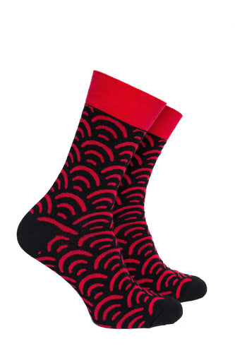 Black and Red Scale Pattern Socks