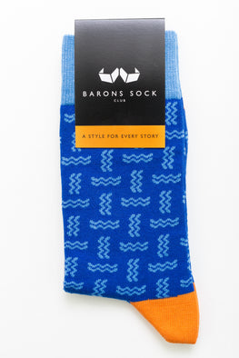 Dark Blue Wave Pattern Socks with Orange Heel and Toe - Barons Sock Club