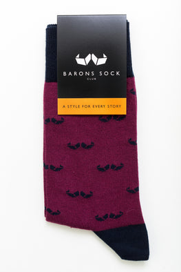 Garnet Red Mustache Pattern Socks - Barons Sock Club
